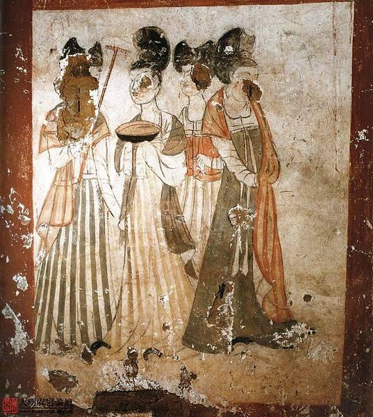唐•新城長公主墓壁畫•1。