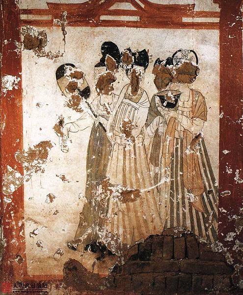 唐•新城長公主墓壁畫•3。