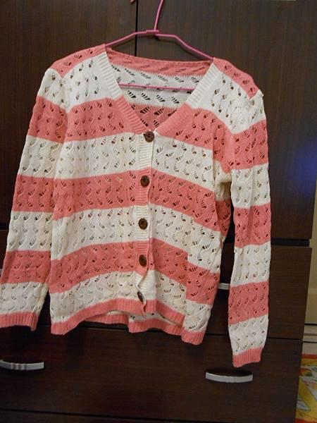 粉白條紋上衣(可當外套)