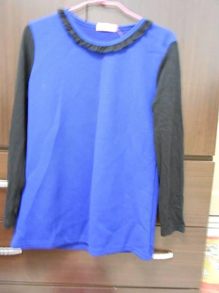 拼色藍上衣
