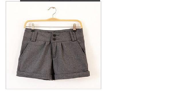 顯瘦寬鬆毛呢短褲~~灰色L號