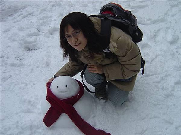 和我的雪人合照 嘿嘿