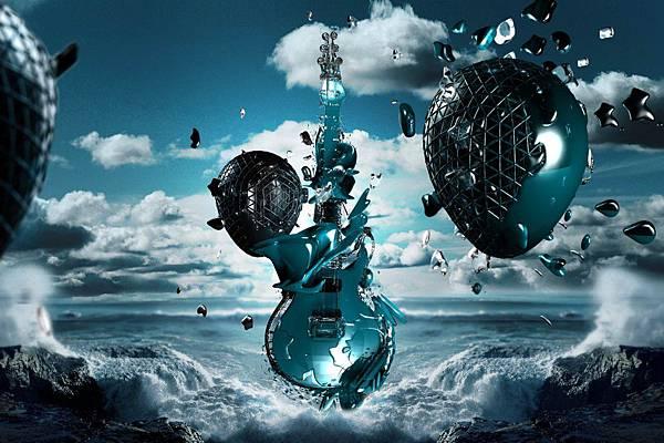 3D-吉他-海-空-創意-646x970
