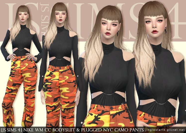 JS SIMS 4] NIKE Wm Cc Bodysuit & PLUGGED NYC Camo Pants @ JS SIMS