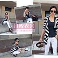 日韓衣舍-2013新款-大特價-條紋大碼開衫簡約休閒外套