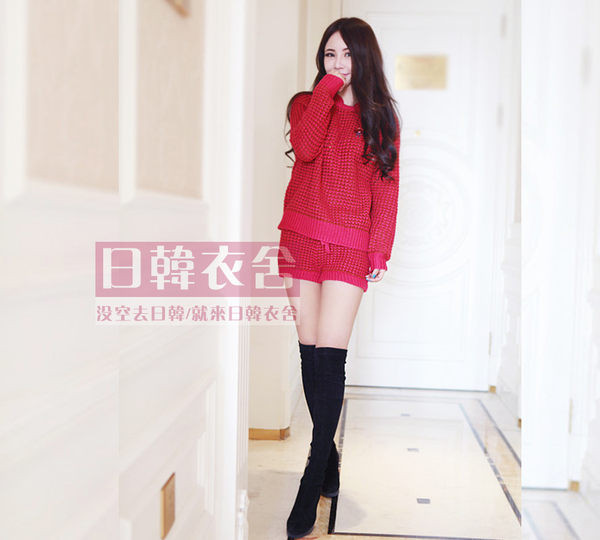 vivi雜誌超美鳳梨格紋套頭毛衣+短褲兩件套