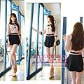 2013春季新款 甜美學院風 拼色蝴蝶結娃娃領修身襯衣,褲裙套裝