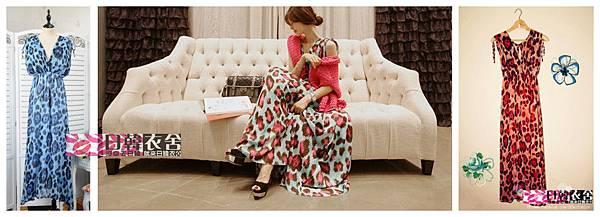 日韓衣舍-2013新款 性感深V領 波西米亞風豹紋印花連身長裙