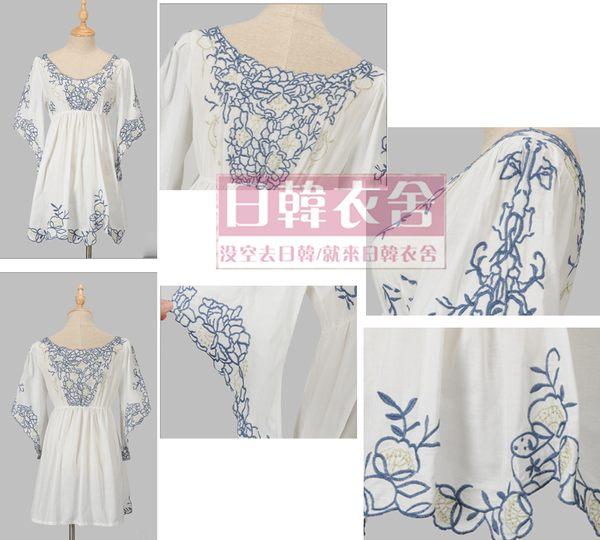 民族風繡花喇叭袖連衣裙