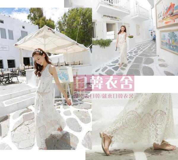 優雅鏤空蕾絲睫毛裙擺 無袖修身連衣裙(配腰帶)#0202