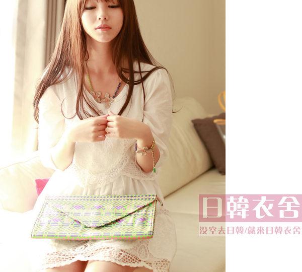時尚鏤空刺繡蕾絲拼接收腰短袖連衣裙
