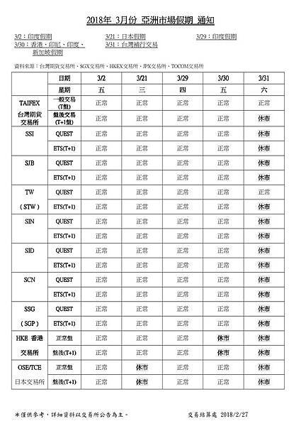 2018年3月份亞洲市場假期通知 s