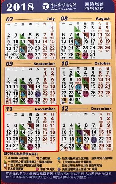 11月期貨結算日