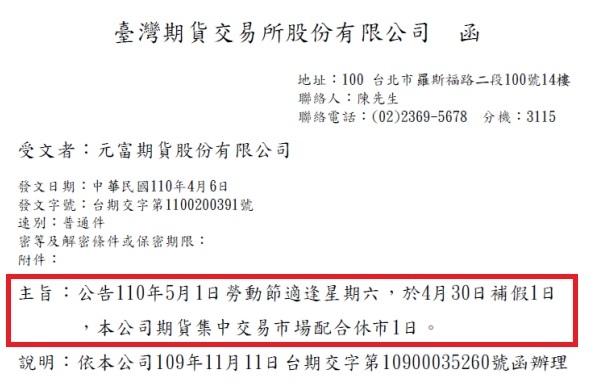 【期交所公告 2021年5/1(六)勞動節,4/30(五)補假一日,台灣休市1天