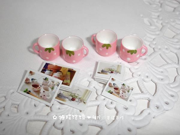 愛戀草莓咖啡杯組+鄉村風橫式迷你拍立得&明信片各1組