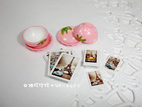 愛戀草莓碗盤組+歐風復古直式迷你拍立得&明信片各1組