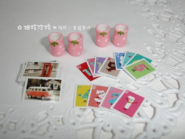 愛戀草莓曲線杯組+迷你數字小卡&歐風復古橫式明信片各1組