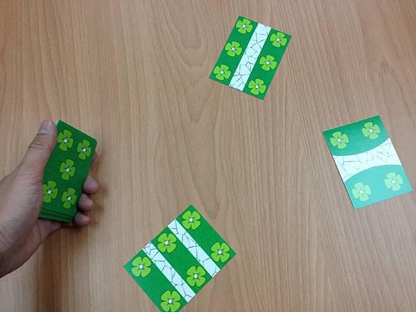 遊戲時把屬於自己花的12張牌洗混後,拿在手上,從第一張手牌開始出牌。