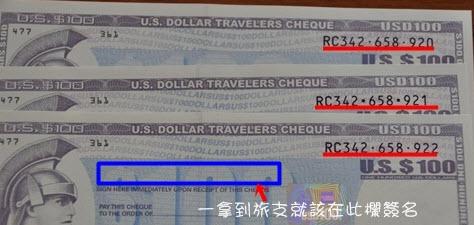 旅行支票 購買編號