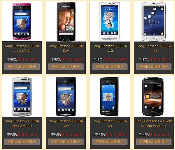 Sony Ericsson  手機館所有手機廠牌