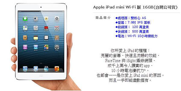 Apple iPad mini Wi-Fi 版 16GB