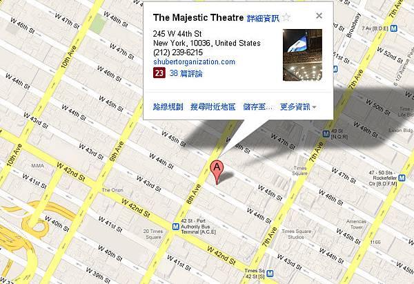 紐約百老匯Majestic Theatre map