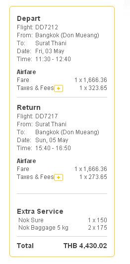 廊曼機場 Don Mueang Airport 來回蘇另他尼府 機票費用