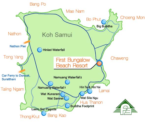 蘇梅島住宿 First Bungalow Beach Resort (第一平房海灘度假酒店) MAP