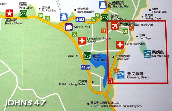 蘇美島自由行 下載地圖Ko Samui map4.東中區-查汶海灘.jpg