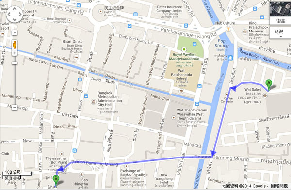 金山寺Wat Saket-蘇泰寺Wat Suthat map(S)