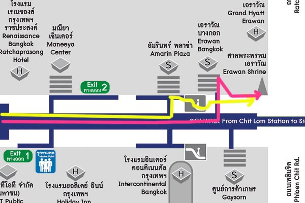 四面佛廣場 Erawan Shrine BTS Chit Lom奇隆站地圖