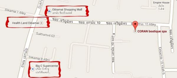 CORAN boutique spa map