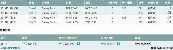 2014-8-17 台北到曼谷機票 國泰航空台灣