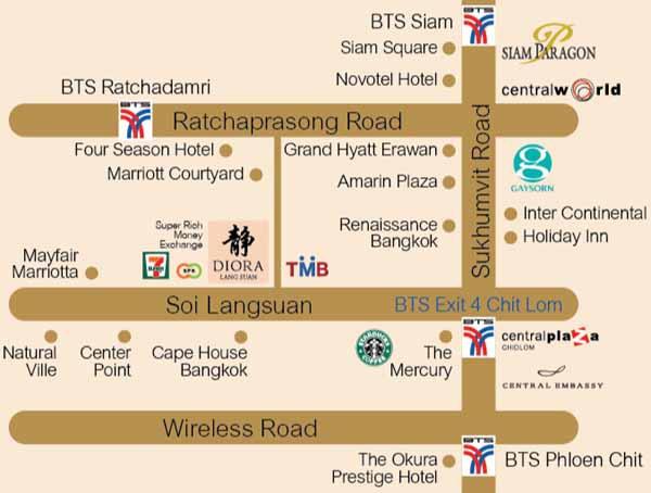 泰國曼谷-靜Diora SPA按摩店 MAP