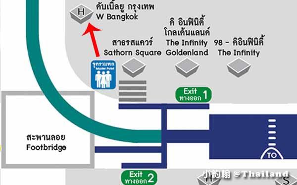 曼谷近捷運飯店W Bangkok Hotel時尚飯店BTS Chong NonsiMAP