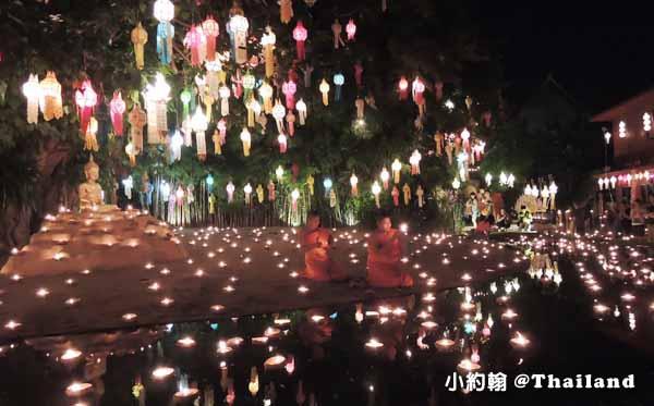 泰國清邁佛寺 Wat pan tao 盼道寺 水燈節點燈