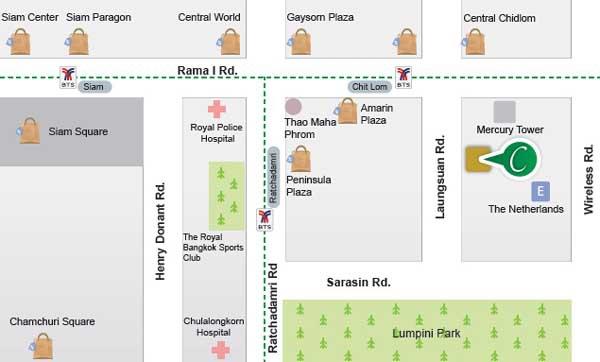 泰國曼谷Centre Point Chidlom Hotel奇隆帝寶四星級飯店map.jpg