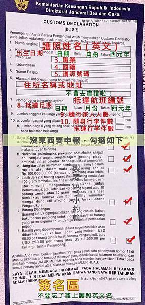 印尼峇里島海關申報單填寫說明
