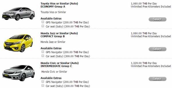 Hertz Car Rental (Thailand)泰國赫茲租車價錢參考