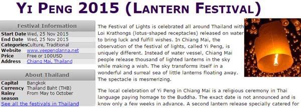 Yi Peng 2015 (Lantern Festival)