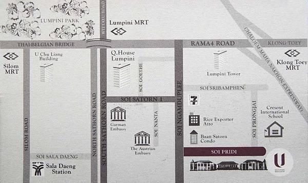 U Sathorn Bangkok曼谷沙通U飯店 map地圖.jpg