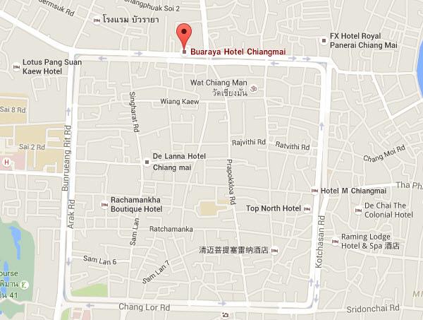 Bua Raya Hotel清邁布萊亞飯店@古城北門map.jpg