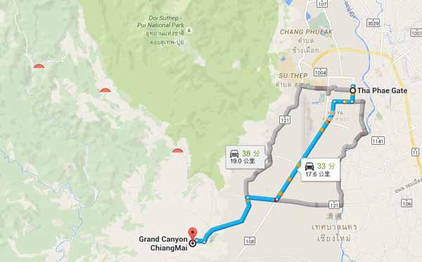 清邁祕境Grand Canyon Chiangmai 人造大峽谷跳水池 MAP