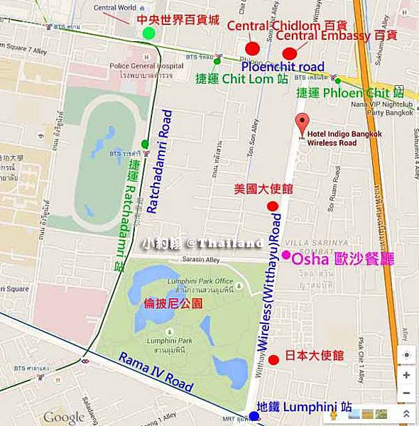 OSHA Bangkok曼谷歐沙泰式餐廳map