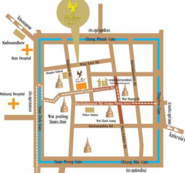 De Lanna Hotel清邁古城德蘭納飯店Wat Phra Singhh map.jpg