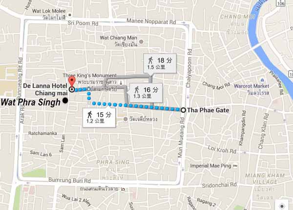 De Lanna Hotel清邁古城德蘭納飯店Wat Phra Singhh map2.jpg