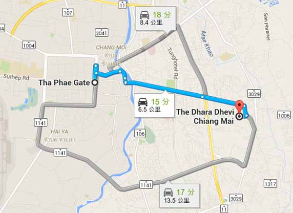 The Dhara Dhevi hotel chiang mai 清邁泰美奢華飯店MAP