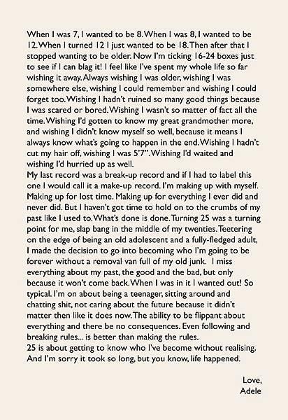 愛黛兒(Adele)10月21日給歌迷的信