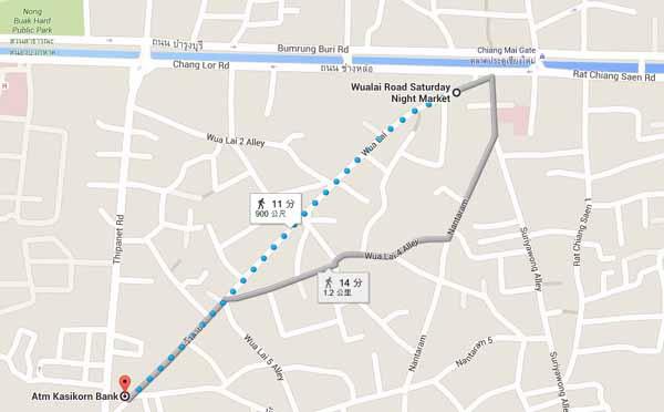 清邁週六夜市Wualai Road Saturday Night Market MAP