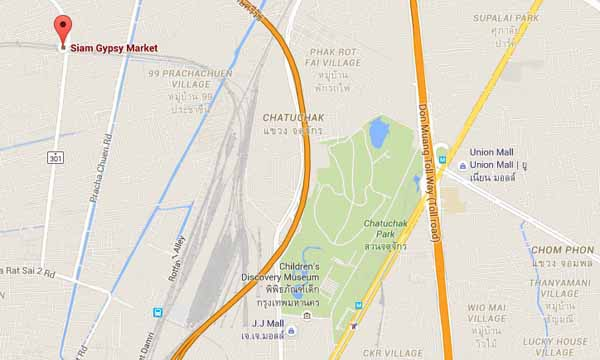 Siam Gypsy Market恰圖恰西北方的鐵道夜市MAP